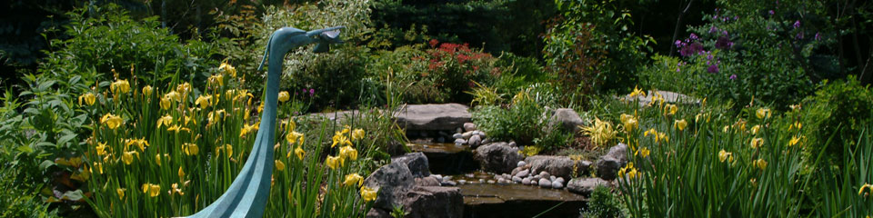 A landscaped pond surrounded by rocks, flowers and bushes